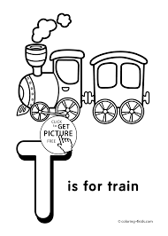 Small Picture Letter T Coloring Page Alphabet Train adult
