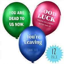 lead balloons the office traitor rude balloon mixed colour pack of 12 leaving gifts for colleagues