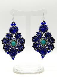 blue turquoise chandelier mosaic earrings