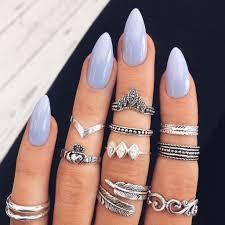 Blue Almond Acrylic Nails Nail Nehty Akrylové Nehty A Design Nehtů