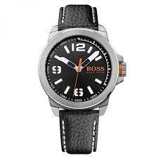 buy boss orange watches mens black dial new york leather strap watch boss orange watches mens black dial new york leather strap watch