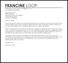 Sample Volunteer Letter Volunteer Resignation Letter Example Letter Samples