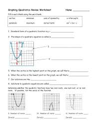 review solving quadratics by graphing systems of equations worksheet answers algebra 1 linear and quadratic algebraically