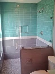 blue tiles bathroom. Bedroom, Light Blue Tiles Bathroom Brown Wooden Sink Cabinet With White Marble Top Chrome Plated R