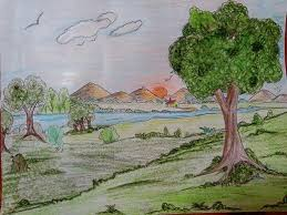 Drawing Chart Landscape Drawing Using Pastels On A Chart Paper For My
