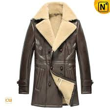 brown sheepskin pea coat cw851418 jackets cwmalls com