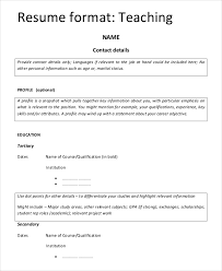 Teaching Resume Format for Fresher Template
