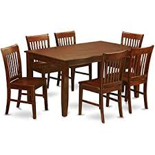 east west furniture duno7 mah w 7 piece dining table set