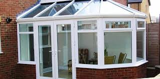upvc plastic framed but glass roof conservatory