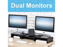 fitueyes computer monitor stand riser with adjule length and angle 3 shelf dt108001wb
