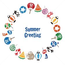 暑中見舞い 日本の夏素材 円形フレーム カードデザイン イラスト素材