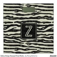 Black Bathroom Scales Zebra Stripe Animal Print Pattern Monogram Black Bathroom Scale