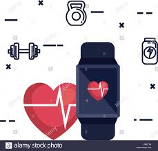 Smartwatch App Design Smartwatch With Cardiology App And Fitness Icons Vector