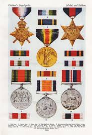 1950 Antique British Medals Ribbons Print 2 Military Orders