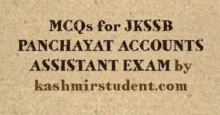 mcqs for jkssb panchayat accounts