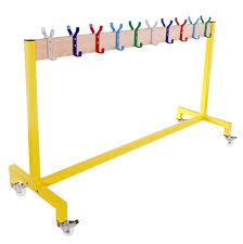 School Coat Racks BS100 Single Rail Mobile Coat Rack On Wheels With Double Row Of Coat 30