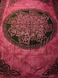 celtic knot mandala red tapestry