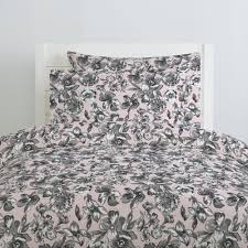 pink and gray fl duvet cover