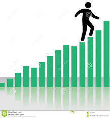 Person Climbs Profit Chart Graph Stairs Stock Vector Illustration