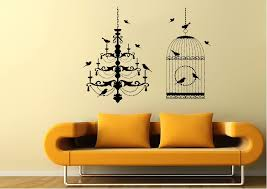wild life chandelier bird cage wall stickers