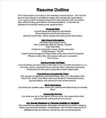 Resume Outline Examples Professional Resume Template Examples