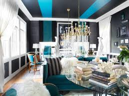 contemporary living room with blue and