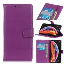 litchi skin leather wallet case for samsung galaxy a30 a20 purple 1