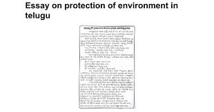 essay on protection of environment in telugu google docs