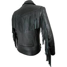 mens elite fringed black motorcycle jacket