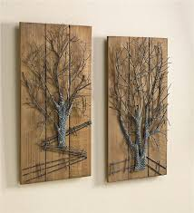 main image for metal tree on wooden wall art set of 2 on wall art wooden tree with metal tree on wooden wall art set of 2 new for winter