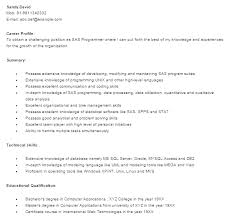 sas resume samples