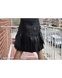 kilt in black leather for men