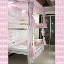 Kids Bedroom. Popular Pink Girl Bunk Bed With Pink Curtains And Pink Sheet Bedroom  Decoration