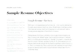 Job Objective For Resume Cool Objectives Of Resumes General Objectives Resume Objectives Samples