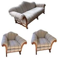 rare three piece set of oliver messel sofa and club chairs caribbean furniture