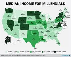 millennial median wage map business insider millennial median income state map