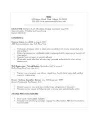 Samples Of Resumes For College Students Summer Job Resume Sample