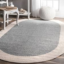 nuloom grey solid border oval casual handmade braided rug 6 x 9