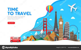 Tourism Banner Design Travel Banner Design With Famous Landmarks For Popular