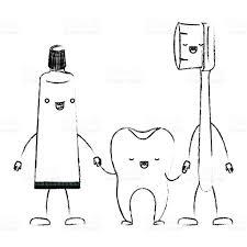Dentifrice Et Dent Et Brosse Dents Dans Le Dessin Anim Tenant