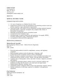records clerk resumes medical clerk sample resume haadyaooverbayresort com