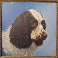 antique american winsor newton oil on board er spaniel dog fine painting