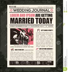 Newspaper Front Template Newspaper Wedding Invitation Design Template Stock Vector