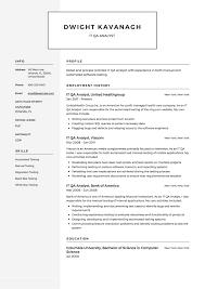 It Qa Analyst Resume Example Template Sample Cv Formal Design