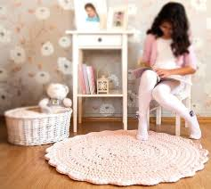 light pink rug for nursery interesting rugs pleasing crochet floor mat baby round