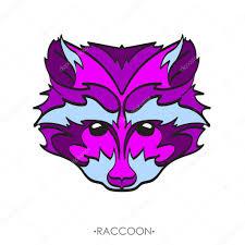 стилизованный енот вектор эскиз татуировки векторное изображение