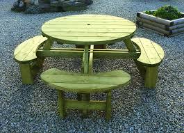 softwood round garden table plus bench softwood