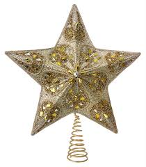 silver gold beaded star tree topper