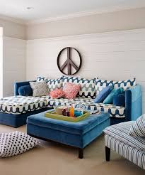 furnitures cool living room with striped upholstered coffee table and neutral sectional sofa blue living