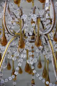 italian amber drops and crystal chandelier circa 1930s for 1